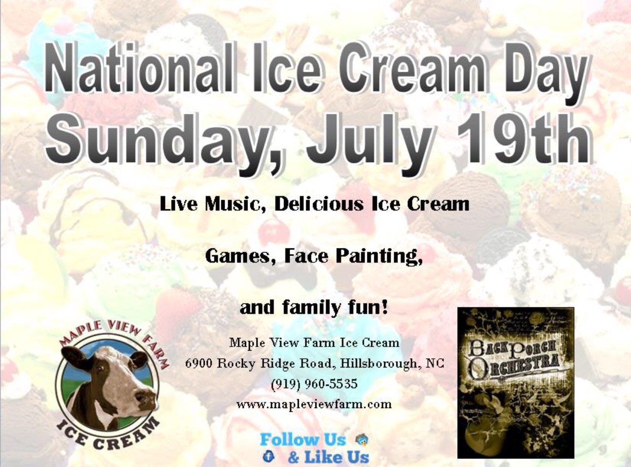 National Ice Cream Day – July 19th – Maple View Farm